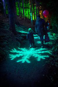 A young child intrigued by the displays at The Enchanted Forest, Pitlochry