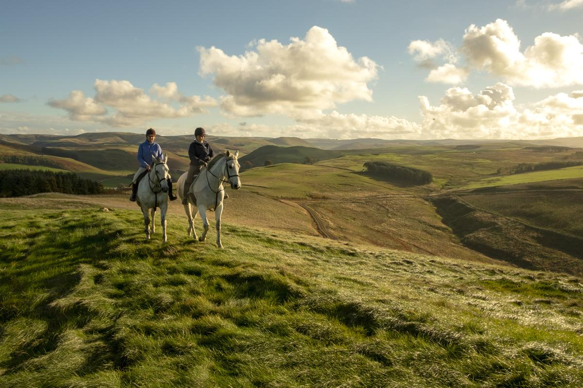 Horse riders on the Cheviot Hills, Scottish Borders