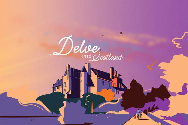 Delve into Scotland eBook cover. Illustration by Marcus Marritt