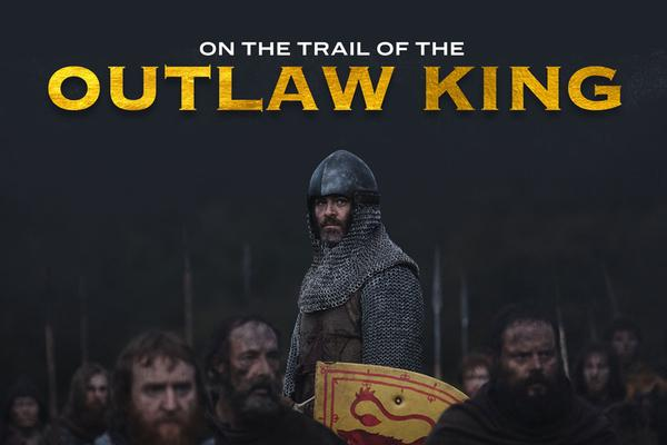 The title page of the Outlaw King film locations map showing Chris Pine as Robert the Bruce. Image © Netflix