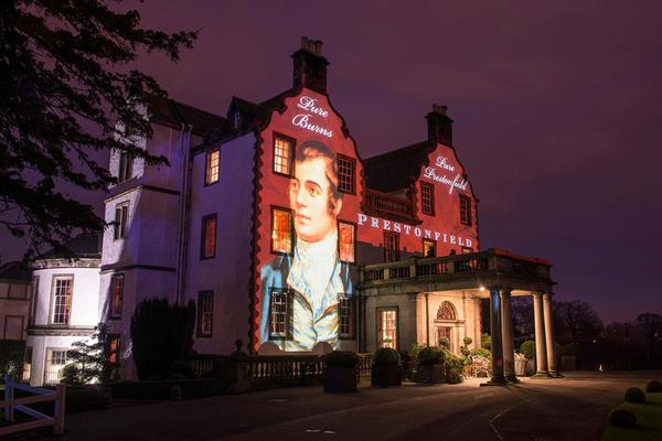 Prestonfield House, een luxe hotel en restaurant in Edinburgh, belicht tijdens Burns Night in Januari © Kenny Lam