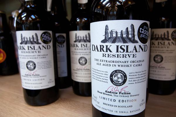Bottles of Dark Island Reserve Ale for sale at the Orkney Brewery and Visitor Centre, Orkney
