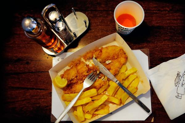 Fish & Chips served with Irn-Bru in the famous Anstruther Fish restaurant