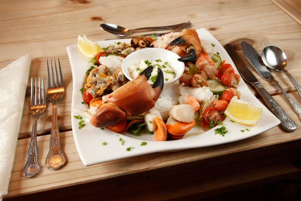 Fresh seafood platter at the Orasay Inn- offering accomodation and a restaurant at Loch Carnan, Isle of South Uist, Outer Hebrides