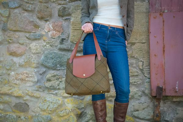 Harris tweed handbag by textile designer Clare O'Neill