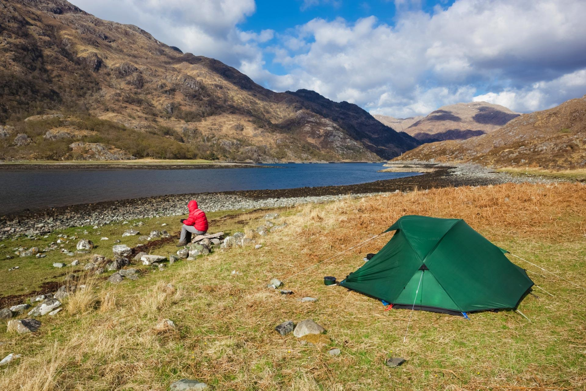Barrisdale Bay beside Loch Hourn Highlands. A hiker c&ing at Barrisdale Bay beside Loch Hourn in the Highlands & Wild camping in Scotland | VisitScotland
