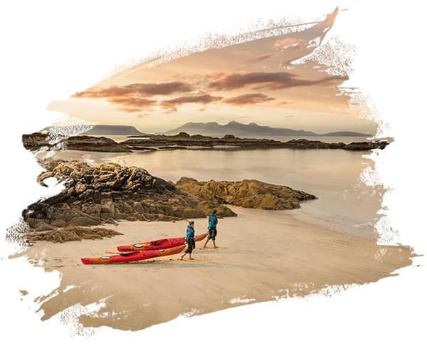 Kayakers, Camusdarach beach, Mor