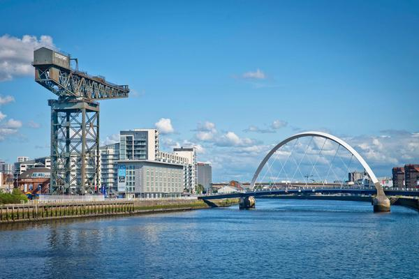 Looking over the River Clyde to the Finneston Crane and Clyde Arc bridge, Glasgow
