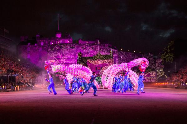 A Changxing Lotus Dragon dance by a folklore group at the Royal Edinburgh Military Tattoo
