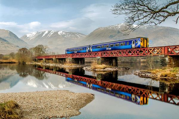 A ScotRail train crosses the head of Loch Awe on the Glasgow - Oban line, near Dalmally © Dennis Hardley Photography
