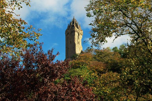 A view through trees to the National Wallace Monument, Stirling