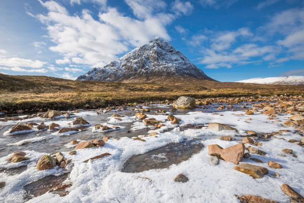 Frozen River Coupall in front of Stob Dearg (Buachaille Etive Mor), Glencoe