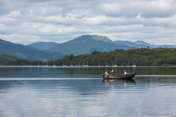 Fishing boat on Loch Lomond at Balmaha