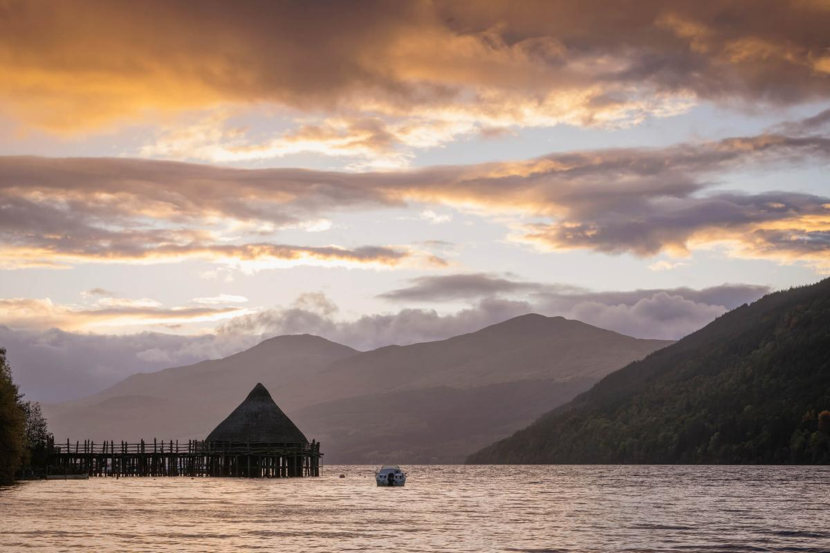 A reconstructed crannog on Loch Tay, Perthshire