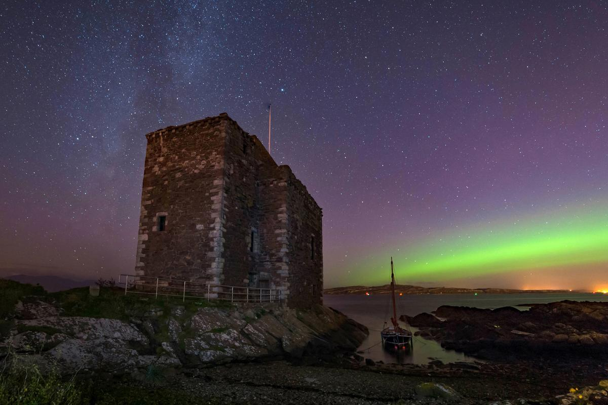Portencross Castle in North Ayrshire with the Northern Lights in the background © Christopher Marr