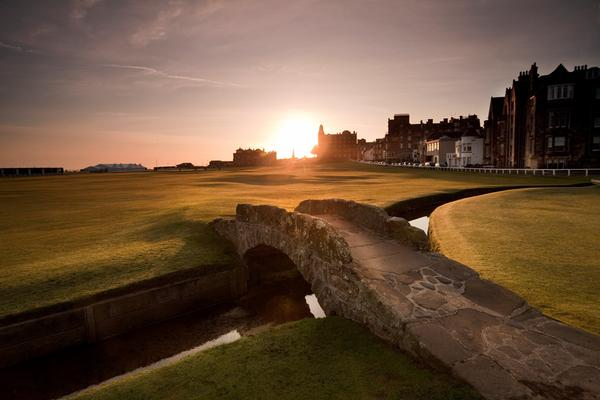 Looking out over the Swilcan Bridge on the 18th fairway of the Old Course in St Andrews