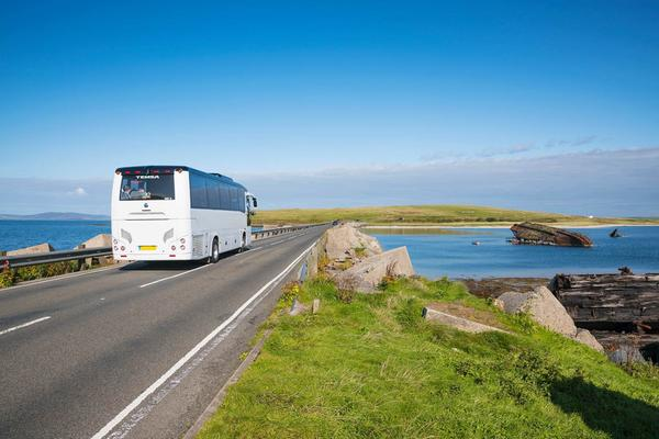 A tour bus on Churchill Barrier No. 3, Glimps Holm to Burray, Orkney