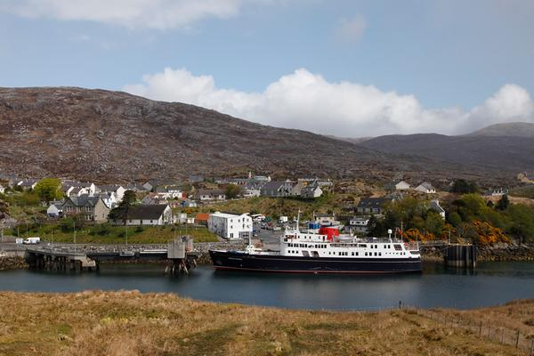 A luxury cruise ship at the pier at Tarbert, Isle of Harris