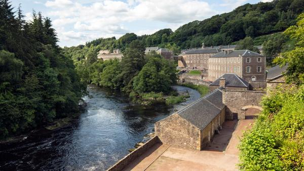 New Lanark Visitor Centre seen from the Clyde walkway