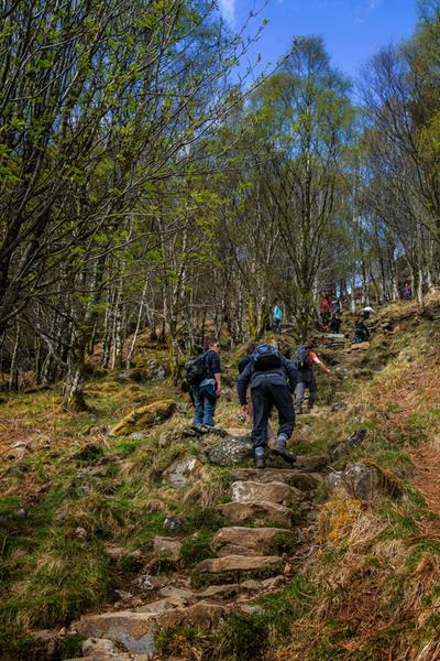 Walkers on Ben A'an in The Trossachs