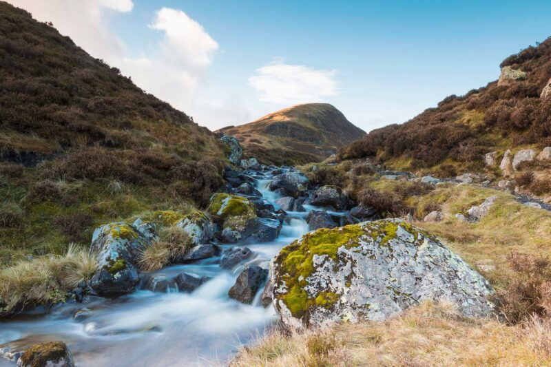 The walking route between the Grey mare's tail and Loch Skeen near Moffat