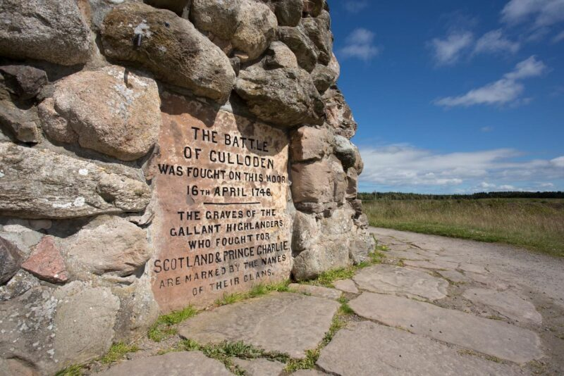 A Detail Of The Inscription On The Memorial Cairn At Culloden Battlefield Near Inverness Highlands Of Scotland