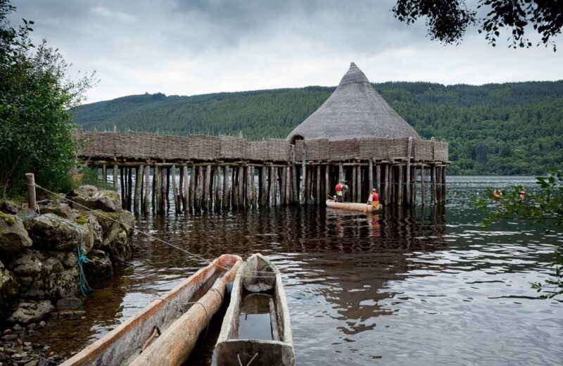 Dugout Canoes Available For Hire At The Living Iron Age Experience Special Event At The Scottish Crannog Centre On Loch Tay Kenmore Perthshire