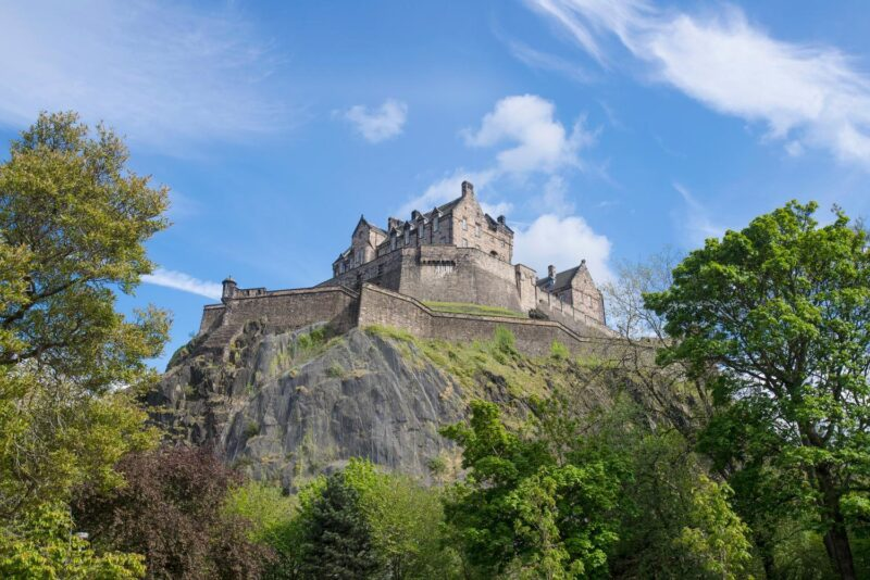 Edinburgh Castle Seen From Princes Street Gardens