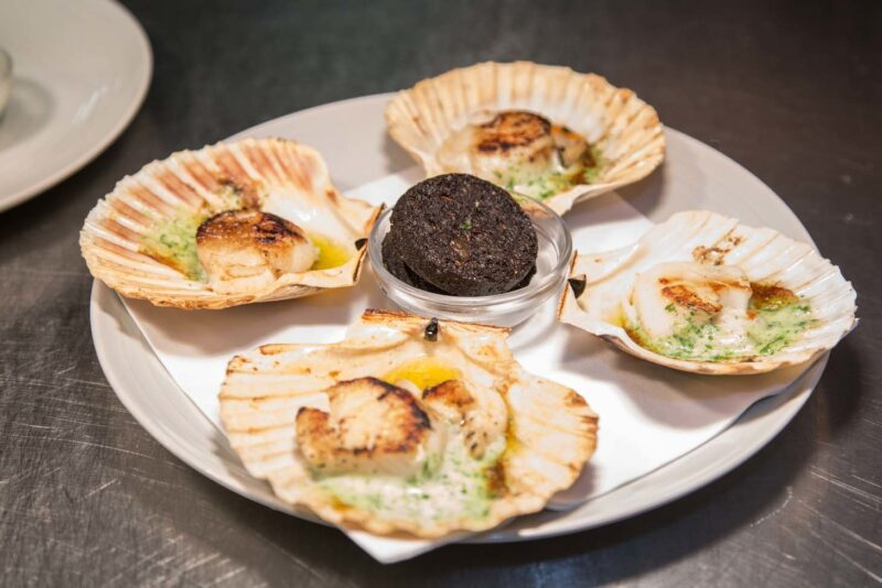 Slices Of Stornoway Black Pudding And Cooked Scallops With Garlic Butter  Loch Fyne Restaurant Oyster Bar