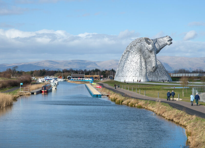 Union Canal Next To The Kelpies Helix Park By Falkirk