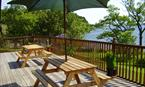 Large decking area overlooking Loch Lomond