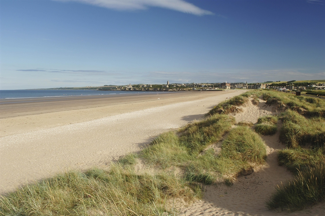 Looking Along West Sands Towards The Town St Andrews Fife