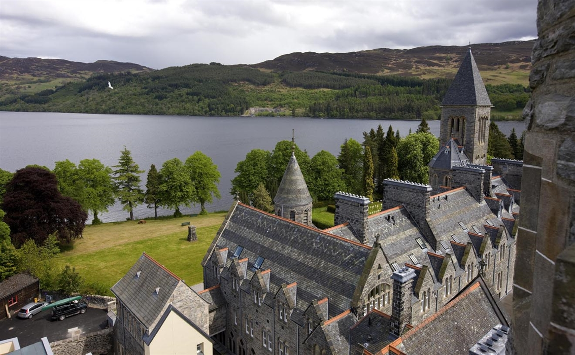Looking over the ornate abbey rooftop to Loch Ness