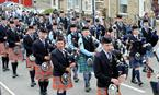 Chieftain's Parade through the streets of Shotts as part of the town's annual Highland Games