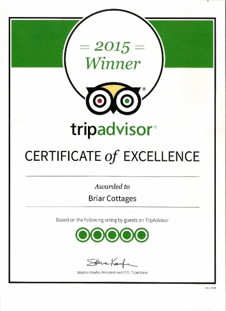 TripAdvisor certificate of excellence 5 star =Briar Cottages 2015
