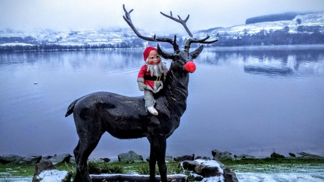 Stan the stag plays Rudolph with wee santa, BrIar Cottages Lochearnhead